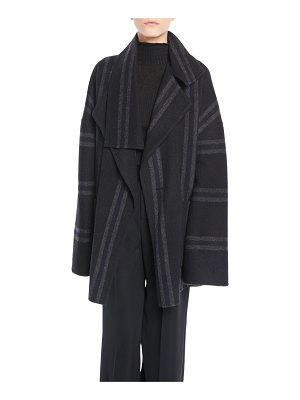 Vince Striped Belted Wool Blanket Coat