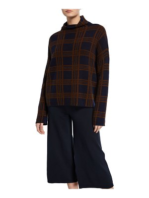 Vince Tartan Plaid Funnel-Neck Long-Sleeve Wool/Cashmere Top