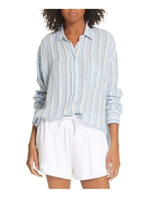 Vince textured stripe button up blouse