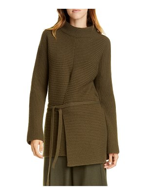 Vince tie front wool & cashmere tunic sweater