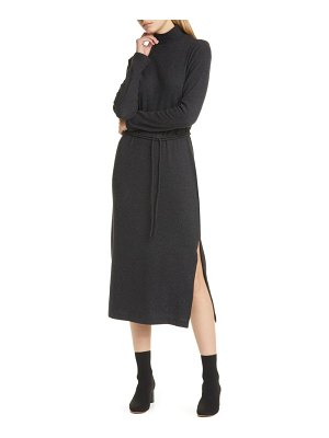Vince turtleneck long sleeve cotton blend midi dress