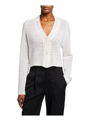 Vince V-Neck Crochet Short Cardigan