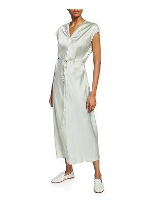 Vince V-Neck Draped Silk Dress