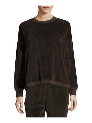 Vince Velour Long-Sleeve Pullover Top