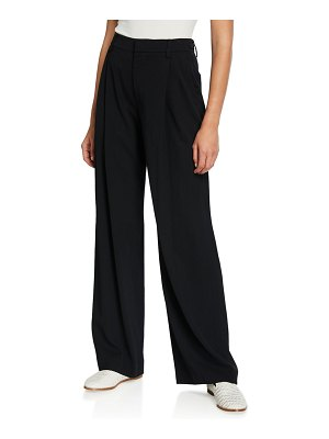 Vince Wide-Leg Pleated Viscose Trousers