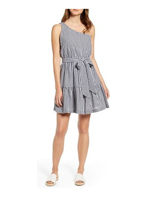 Vineyard Vines gingham one-shoulder minidress