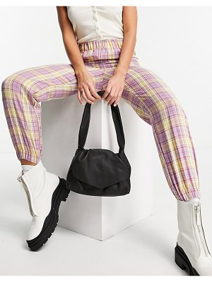 Vintage Supply high waist sweatpants in lilac check-purple