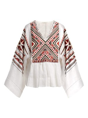 Vita Kin malta embroidered linen top