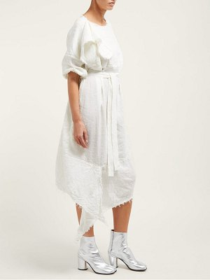 VIVIENNE WESTWOOD ANGLOMANIA balloon raw edged linen blend midi dress
