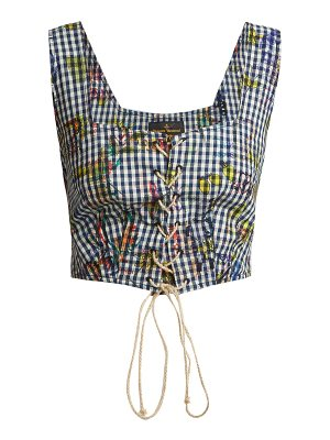 VIVIENNE WESTWOOD ANGLOMANIA Floral-print gingham cropped top