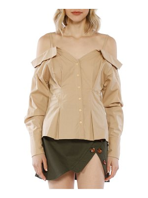 Walter Baker Off-The-Shoulder Cotton Button-Down Top