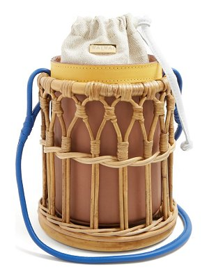 WAI WAI Bamboo Cage And Leather Bucket Bag