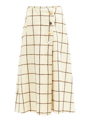 WALES BONNER checked wool-blend wrap skirt