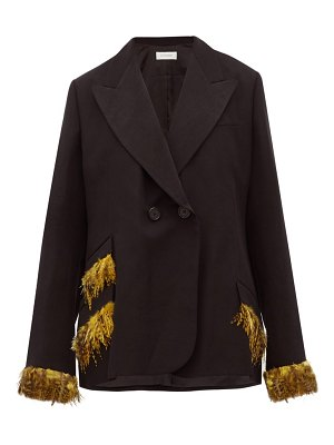 WALES BONNER double-breasted feather-trimmed jacket