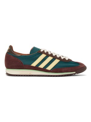 WALES BONNER green and brown adidas originals sl72 sneakers