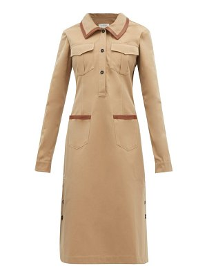 WALES BONNER leather-trimmed cotton shirtdress