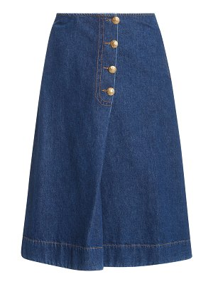 WALES BONNER london denim wrap midi skirt