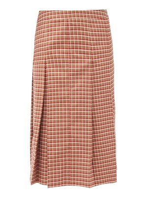 WALES BONNER pleated checked wool-blend midi skirt