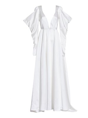 Wandering duchesse satin butterfly-sleeve gown