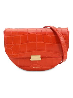 WANDLER Anna croc embossed leather shoulder bag