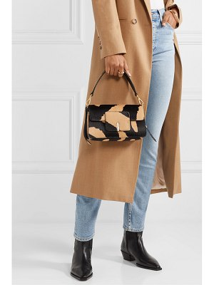WANDLER georgia leather-trimmed calf hair shoulder bag