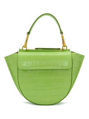 WANDLER green croc mini hortensia bag