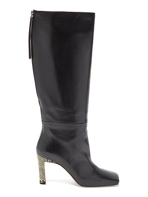 WANDLER isa python-effect heel knee-high leather boots