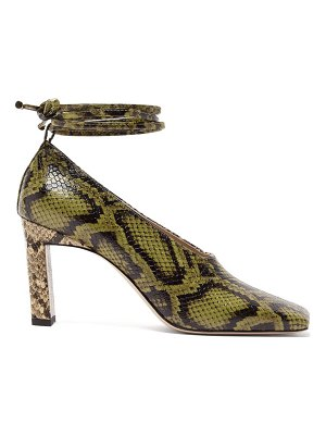 WANDLER isa wraparound python-effect leather pumps