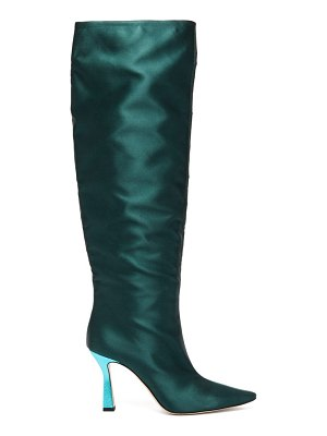 WANDLER lina point-toe slouch satin knee-high boots