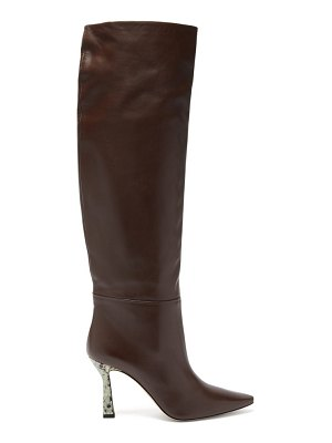 WANDLER lina printed-heel knee-high leather boots