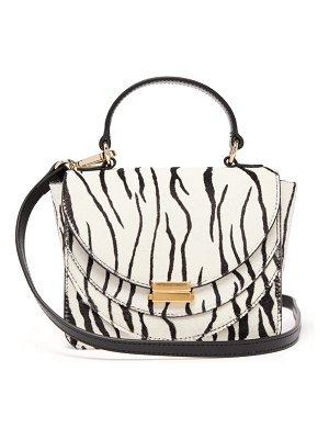 WANDLER luna mini zebra print calf hair cross body bag