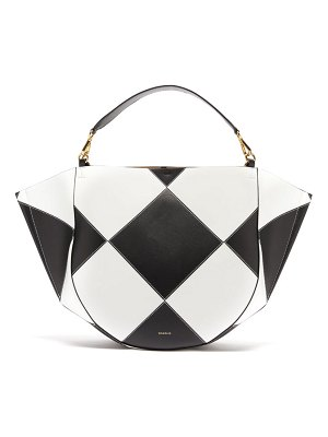 WANDLER mia large chequered leather tote bag