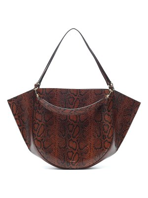 WANDLER Mia snake-effect leather tote
