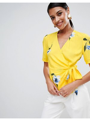 Warehouse floral print wrap top in yellow