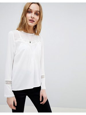 Warehouse Lace Insert Pleat Detail Top