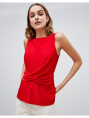 Warehouse sleeveless blouse with drape waist detail in red
