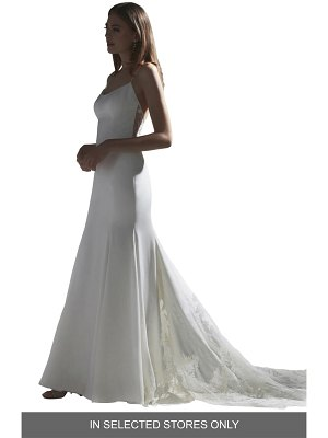 Watters indra lace back silk trumpet wedding dress