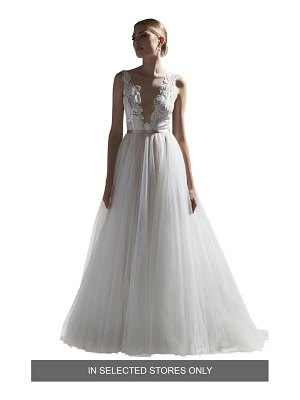 Watters vervain v-neck lace & tulle ballgown wedding dress