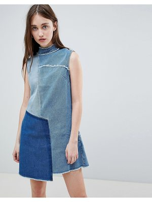 Waven Christa Patchwork High Neck Denim Dress
