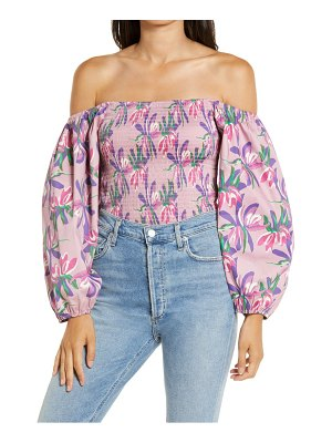 Wayf amos smocked off the shoulder top