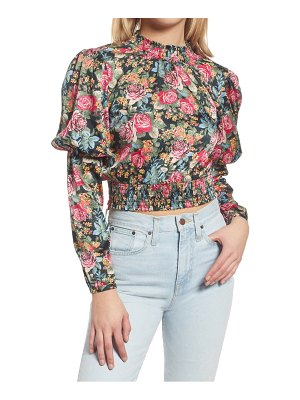 Wayf dutchess smocked puff sleeve floral print top