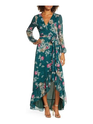 Wayf the meryl floral long sleeve wrap gown
