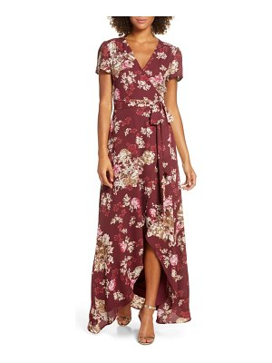 Wayf the zoey floral print short sleeve wrap gown