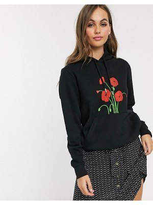 We Are Hairy People organic cotton hoodie with hand painted poppies-black