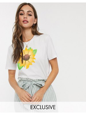 We Are Hairy People organic cotton t-shirt with hand painted sunflower-white