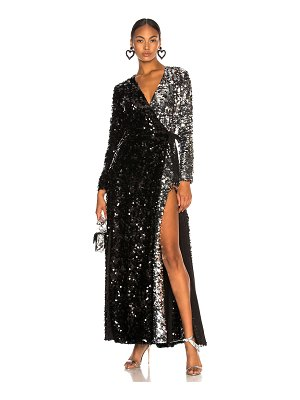 we are LEONE Contrast Sequin Wrap Dress