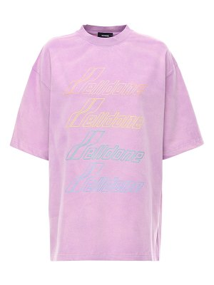 WE11 DONE Iridescent logo bleached cotton t-shirt