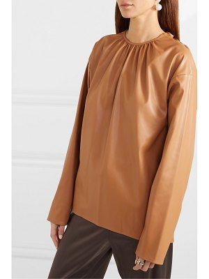 We11Done gathered open-back faux leather top