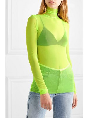 We11Done neon stretch-mesh turtleneck top
