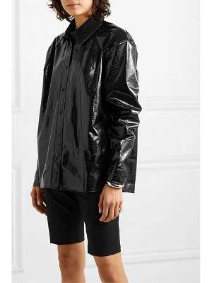 We11Done snake-effect faux patent-leather shirt